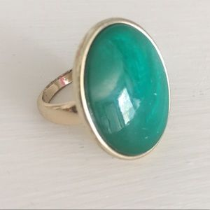 Green and Gold Oval Statement Ring